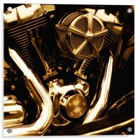 Motorcycle Gold Engine, Acrylic Print