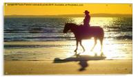 Silhouette and shadows of horse and rider, Acrylic Print