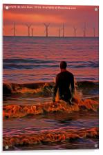 In the surf at Sunset, Acrylic Print