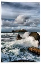 Godrevy Lighthouse, St Ives Bay, Cornwall , Acrylic Print