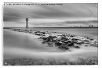 High tide at Perch Rock lighthouse in New Brighton, Acrylic Print