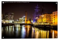Canning Dock illuminated boat, Acrylic Print