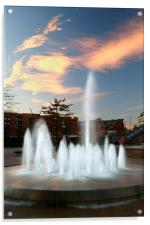 Water Feature in Sheffield Rail Station, Acrylic Print