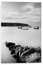 Swanage Bay in Mono, Acrylic Print