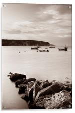 Swanage Bay in Sepia, Acrylic Print