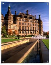 Sheffield Town Hall & Peace Gardens, Acrylic Print