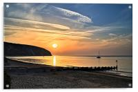 Swanage Bay Sunrise, Acrylic Print