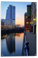 Bridgewater Place and River Aire in Leeds , Acrylic Print