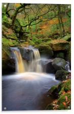 Cascading Waterfalls in Padley Gorge , Acrylic Print