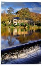 Bamford Weir and River Derwent, Acrylic Print