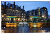 Sheffield Town Hall and Peace Gardens at Night , Acrylic Print