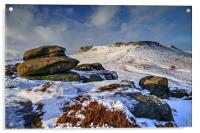 Carl Wark and Higger Tor After Snowfall  , Acrylic Print