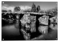 Postbridge Clapper Bridge in Mono , Acrylic Print
