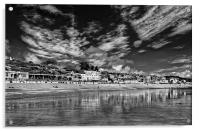 Lyme Regis Seafront in Mono , Acrylic Print