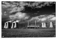 West Burton Power Stations in Mono , Acrylic Print