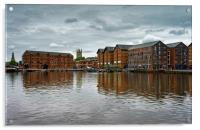 Gloucester Docks and Cathedral                   , Acrylic Print