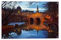 Pulteney Bridge and River Avon in Bath            , Acrylic Print