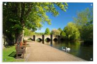 Riverside Walk at Bakewell                      , Acrylic Print