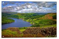 Ladybower View in Summer                          , Acrylic Print