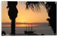 Sunsetting on the Tall Ship, Acrylic Print