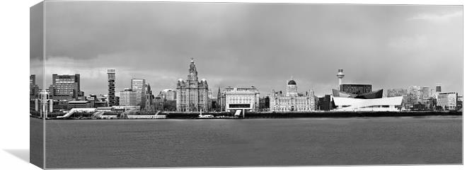 Liverpool waterfront panorama black and white canvas print by john hickey fry