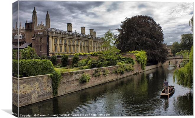 The Backs, Kings College Cambridge Canvas print by Darren Burroughs