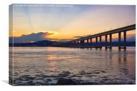 Dundee and Tay Bridge Sunset, Canvas Print