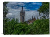 Glasgow University from Kelvingrove Park , Canvas Print