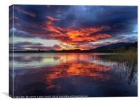 Lake of Menteith autumn sunset, Canvas Print