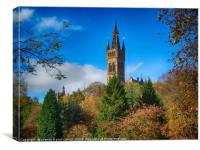Glasgow University from Kelvingrove Park in autumn, Canvas Print