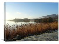A frosty view from the hotel over Lake of Menteith, Canvas Print