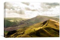 Afternoon Sun on Mam Tor and the Great Ridge, Canvas Print