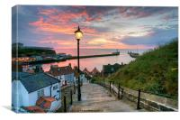 Whitby, 199 Steps, Pink Glow., Canvas Print
