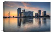 Sunset at Salford Quays Media City, Canvas Print