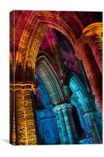 Whitby Abbey Illuminated as for Halloween and Whit, Canvas Print