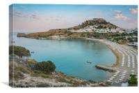 View of Lindos over Lindos Bay, Canvas Print