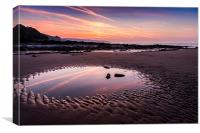 Amroth beach - Early morning reflections, Canvas Print