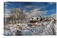 Derelict cottage in the snow, Canvas Print