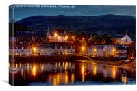 An evening in August at Portree pier., Canvas Print