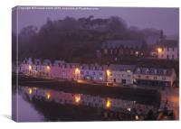 A close-up of Portree pier on a misty evening in , Canvas Print