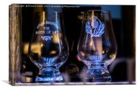 Whisky glasses in a Portree shop window, Canvas Print