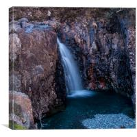 A hillwalker above a waterfall at the Fairy Pools, Canvas Print