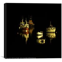 A small group of boats moored on Loch Portree, Canvas Print