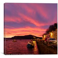 December sunrise over Ben Tianavaig from Portree, Canvas Print