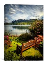 A place to sit and enjoy the warmth and the view., Canvas Print