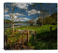 Through a kissing gate to a holiday home by a Loch, Canvas Print