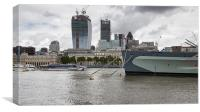 HMS Belfast and the City, Canvas Print