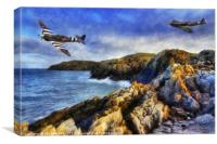Spitfire On The Coast, Canvas Print