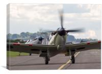 Spitfire pair taxi in - colour version, Canvas Print