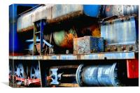 Section of old steam train, Canvas Print